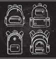 school backpacks set of white chalk sketched vector image