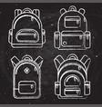 school backpacks set white chalk sketched vector image