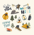 set icons winter hike theme backpack warm vector image vector image