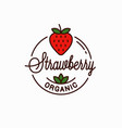 strawberry logo round linear logo organic vector image