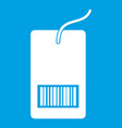 tag with bar code icon white vector image vector image