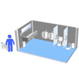 Toilet interior for male with 3d facilities vector image vector image