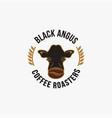 vintage retro logo black angus cow and coffee vector image vector image