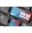 viral marketing word on computer keyboard key vector image vector image