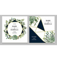 wedding invitation with leaves succulent vector image vector image