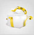 white open 3d empty gift box with yellow ribbon vector image vector image