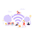 wi-fi in the park with people using smartphone vector image vector image