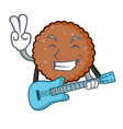 with guitar chocolate biscuit mascot cartoon vector image vector image