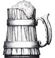 wooden mug beer vector image