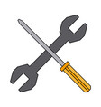 screwdriver and spanner tool support repair vector image