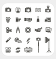 Camera icons and Camera Accessories icons set vector image