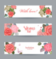 invitation cards with vintage roses with love for vector image