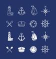 marine sea nautical pirate and maritime thin line vector image