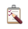 Pencil with notepad with checkboxes vector image