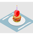 9 years birthday burger Hamburger and candle vector image vector image