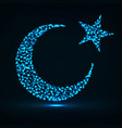 abstract crescent moon and star of particles vector image