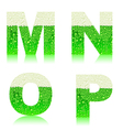 alphabet green beer MNOP vector image