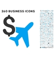 Aviation Business Icon with Flat Set vector image vector image