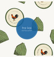 banana leaf and tra-kai plate traditional of vector image