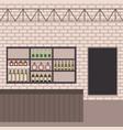 bar shop counter shelf bottles drinks wall brick vector image