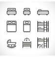 bed icons design set vector image