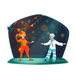 big top circus clown performer characters on stage vector image vector image