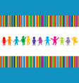 cartoon colored children on stripped background vector image vector image