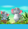 cartoon happy mother and baby elephant in the park vector image vector image