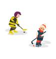 cartoon teen boys playing ice hockey vector image vector image