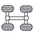 chassis four wheels line icon sign vector image