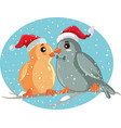 christmas birds sitting on a tree branch vector image vector image