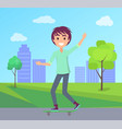 cityscape and skating boy vector image vector image