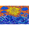 colorful doodle sun clouds and ocean waves vector image vector image