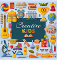 creative kids background with 3d paper cut signs vector image
