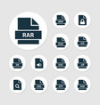 file icons set with raw text audio and other xml vector image vector image