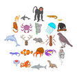 fishs icons set cartoon style vector image vector image