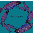 Frame with purple fishes on blue background vector image vector image