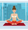 Girl sitting in yoga pose siddhasana near vector image vector image