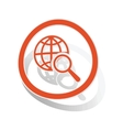 Global search sign sticker orange vector image