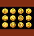 golden icons social media circle buttons set vector image