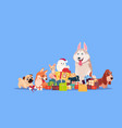 group of cute dog sitting at gifts stack synbol of vector image vector image
