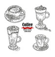 hand drawn black coffee cup irish coffee vector image