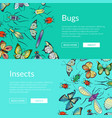 hand drawn insects web banner vector image vector image