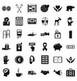 help in donation icons set simple style vector image vector image