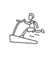 jogging on the treadmill line icon concept vector image vector image