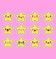 kawaii stars cartoon character set face with eyes vector image vector image
