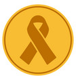 mourning ribbon gold coin vector image vector image