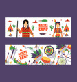 native american camp banner vector image vector image