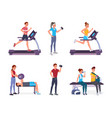 people in gym vector image vector image