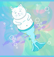 pretty cat mermaid underwater vector image